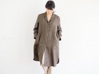 エシカルヘンプオープンカラーシャツワンピース カレン族黒檀染め 茶色 Mの画像