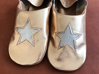 キラキラお星さまバブーシュ(ゴールドxシルバー)の画像