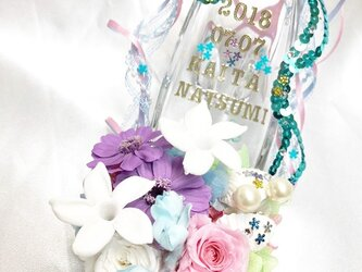 【プリザーブドフラワー/ガラスの靴シリーズ/リングピロー使用OK】マーメイドプリンセスの恋と幸福と喜びの画像