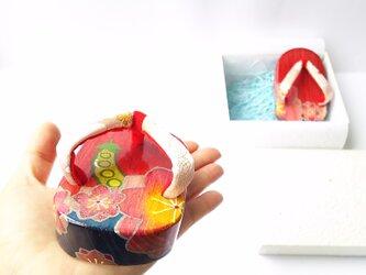 受注製作★お守り下駄☆桜と豆☆縁起物の画像