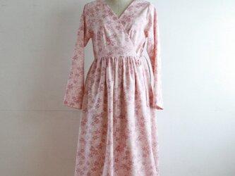 絹 長袖カシュクールワンピース Mサイズの画像