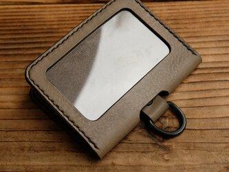 IDカードケース /イタリア産高級レザー(グレー:ダールブラック) *受注制作の画像