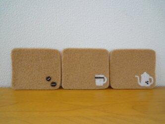 羊毛フェルトコースター*Cafe・ラテの画像