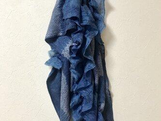 着物リメイク 藍染 フリル フワフワ マフラーの画像
