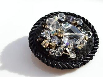 秋冬服のダークカラーに映える輝き・スワロフスキー 半貴石 ビジュー ブローチ ハーキマー水晶の画像