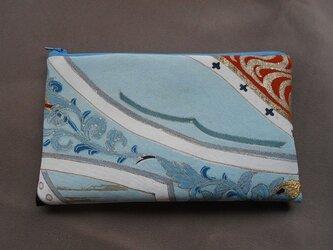 リメイク*ふっくら長方形なポーチ*淡青更紗流水の画像