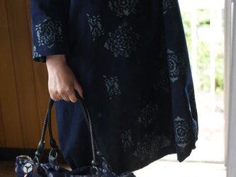 藍染伊予絣&久留米絣バルーンワンピースの画像