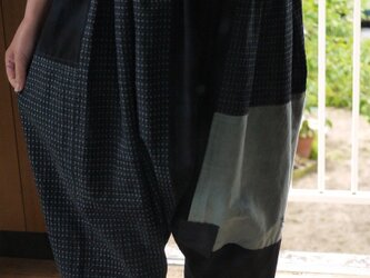 古布と久留米絣のパッチワークサルエルパンツの画像