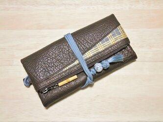 #本革製道中財布 牛革濃茶色(チョコ色) #三筋格子 金 #正絹組紐 #西陣織の画像
