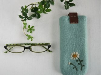 フェルトの小花柄メガネケース ソーダ色*受注制作*の画像