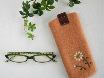 フェルトの小花柄メガネケース アプリコット色*受注制作*の画像