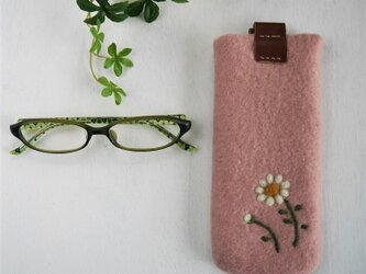 フェルトの小花柄メガネケース ピーチピンク色*受注制作*の画像