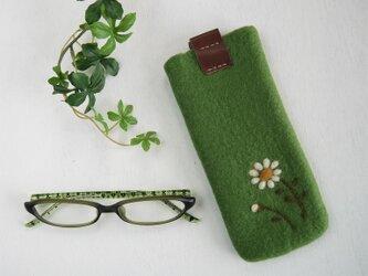 フェルトの小花柄メガネケース グリーンリーフ色*受注制作*の画像