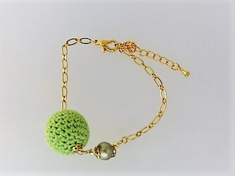 新緑のニットボール1とコットンパールのブレスレット・金♪の画像