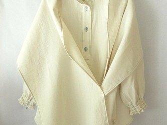 木綿のダブルガーゼのシャツ ストール付きの画像