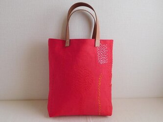 麻帆布のステッチバッグ 刺し子 赤の画像