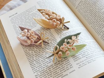 染の草花・アンティークカラーのスズランのブローチ(ピンク)の画像
