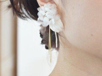 染の草花・紫陽花のピアス(ノンホールピアスへ変更可)の画像