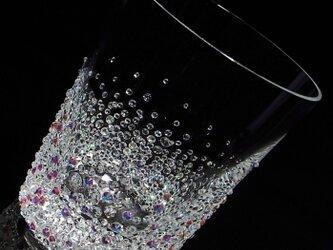 【ロックグラス バブルシャワー 】 結婚祝い 誕生日 プレゼント ギフト スワロフスキー デコグラスの画像
