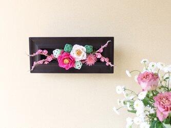水引*椿と梅と菊のフレームアレンジ(ピンク)の画像