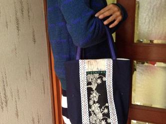 PJC野の花刺繍 帆布 バケツ型 縦長トートバッグの画像