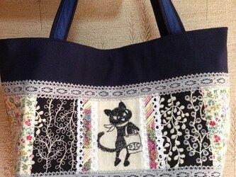 PJC黒猫クロッチ刺繍 帆布 パッチワークトートバッグの画像