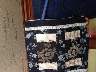 大きなお花 PJC刺繍生地 帆布 たっぷりトートバッグの画像