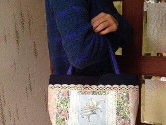 百合の花フランス生地 帆布 パッチワークトートバッグの画像