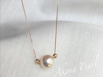 【K10PG】あこや真珠とK18PGゴールドボールネックレスの画像
