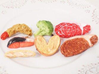 写真全部セット!焼き鮭ブロッコリー肉パンエビフライパイ☆ブローチ★の画像