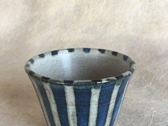 紺青釉縞々カップ(太)の画像