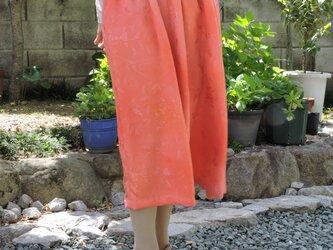 着物リメイク 珊瑚色のギャザースカートの画像