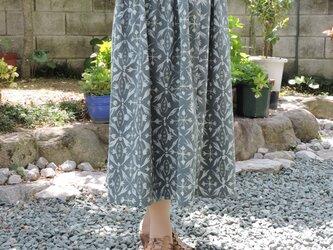 着物リメイク 青緑色のギャザースカートの画像