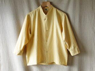 コットンyシャツジャケット七分袖(杢イエロー)の画像