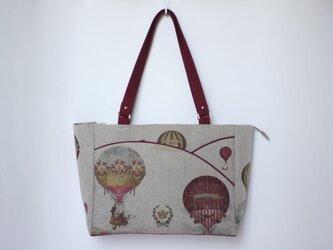 フランスリネン 気球柄のバッグの画像