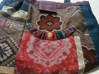 着物リメーク 大島紬のバッグ  1割引きしました。の画像