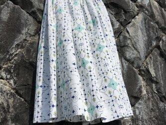 【受注製作】アイヌ チヂリ柄 コットン ギャザースカート オリジナルテキスタイル ホワイトの画像