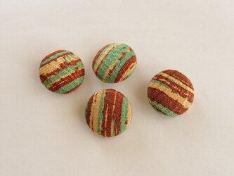 絹手染くるみボタン4個(18mm 茶系)の画像