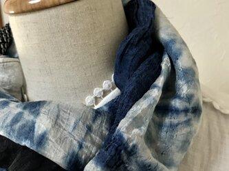 着物リメイク 天然藍染×正絹 ショートマフラーの画像