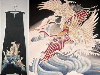 Sold out着物リメイク♪鶴が素敵なアンティーク江戸妻留袖ワンピース♪ハンドメイド♪正絹♪の画像