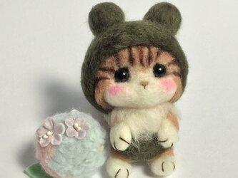 水無月 6月 梅雨 カエル帽子のにゃんこ 紫陽花と一緒に~の画像