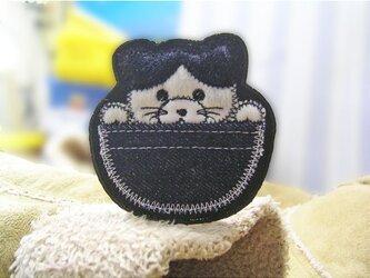 ★ポッケの鉢割猫★あいろんワッペン★1枚-7.5の画像