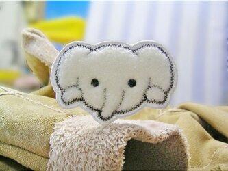 ★白い象さん★アップリケ★あいろんワッペン★1枚-9..5の画像