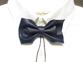 ループ付き 革 蝶ネクタイ 紺の画像