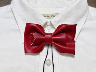 ループ付き 革 蝶ネクタイ 赤の画像