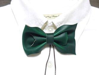 ループ付き 革 蝶ネクタイ 緑の画像