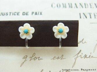 Petit Vintage Flower [ターコイズ] 樹脂ノンホールピアスの画像