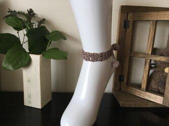 小花ブレス&アンクレット栗茶色【金具を使わないニットアクセ】の画像