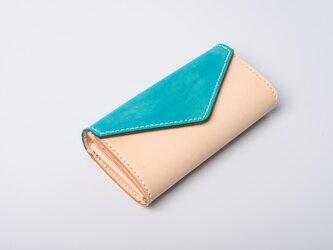 【切線派】手紙 牛革手作り手縫い収納オルガン長財布手染め / 総手縫い の画像