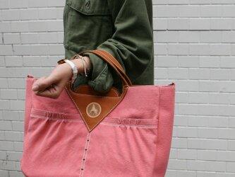 2way ハンドバッグ&ショルダー 帆布×牛革 ピンクの画像
